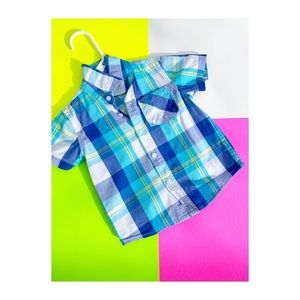 🐒 Plaid Button Up Short Toddler Casual 12-18 mth